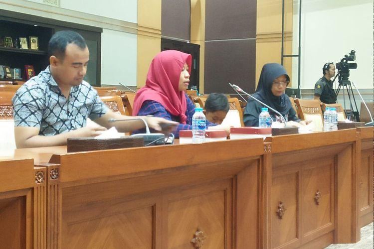 Baiq Nuril dalam rapat pleno Komisi III DPR, di Kompleks Parlemen, Senayan, Jakarta, Selasa (23/7/2019)