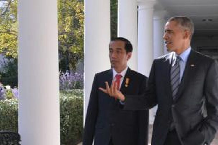 Presiden Republik Indonesia Joko Widodo bersama Presiden Amerika Serikat Barrack Obama saat mengunjungi Gedung Putih, Senin (26/10/2015)
