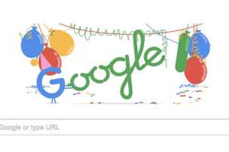 Google merayakan ulang tahun ke-18 dengan memajang doodle ini