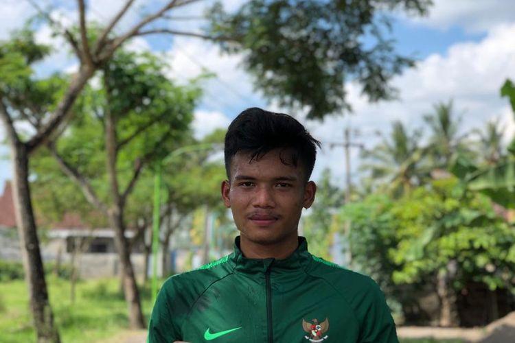 Pemain Timnas U-19 yang juga pemain PON Jatim asal Banyuwangi, Bayu Mohamad Fiqri.