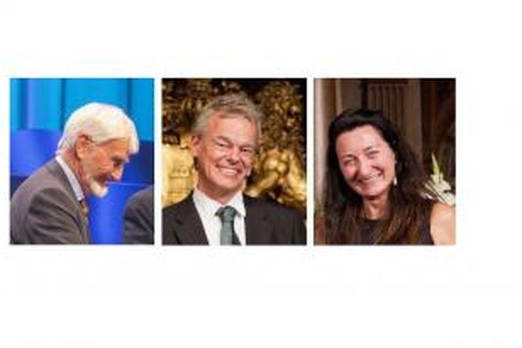 Dari kiri ke kanan, John O'Keefe, Edvard Moser, dan May-Britt Moser, peraih Nobel Kedokteran 2014.