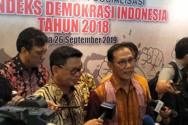 Kepala Badan Pusat Statistik (BPS) Suhariyanto dalam acara peluncuran buku Indeks Demokrasi Indonesia 2018 di Hotel Sari Pacific, Jakarta, Kamis (26/9/2019).