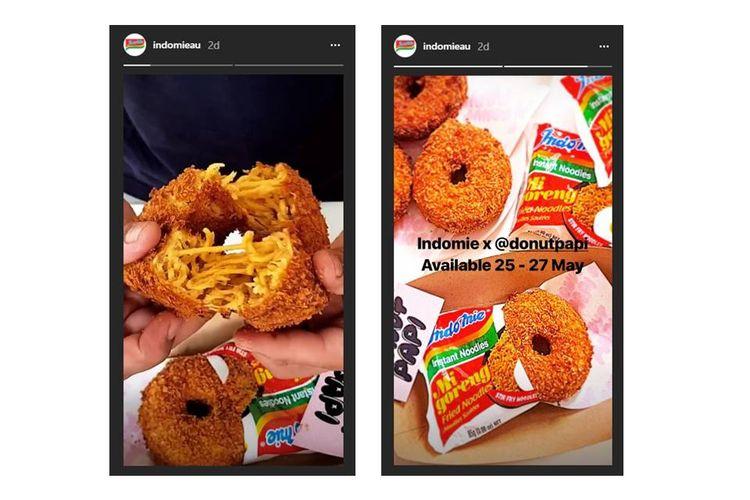 Donat mi goreng yang merupakan kolaborasi Indomie Australia dan Donut Papi Australia viral di media sosial.