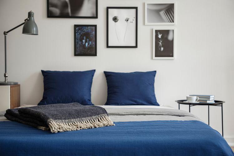 Ilustrasi ide dekorasi kamar warna biru.