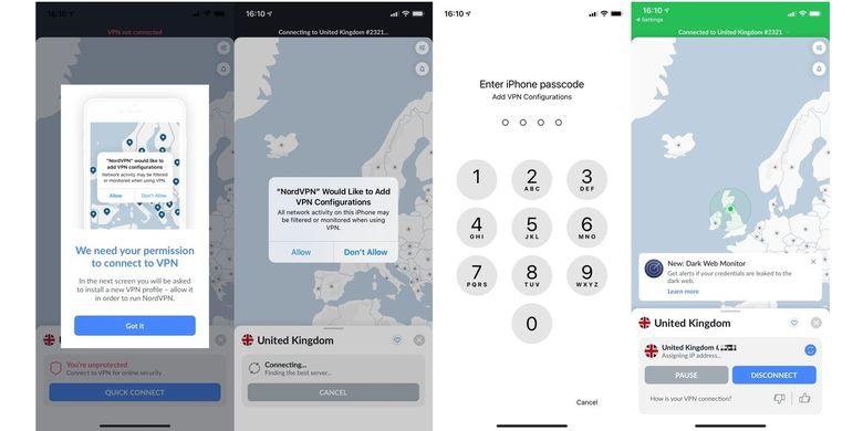 Cara mengaktifkan profil VPN melalui aplikasi.