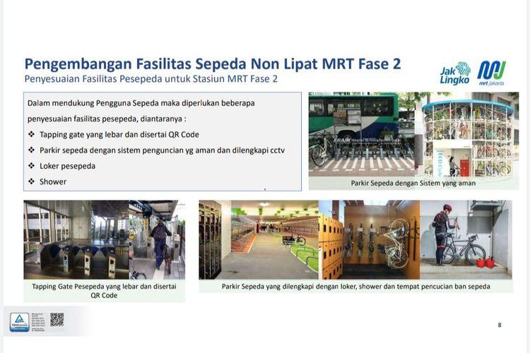 Pengembangan Fasilitas Akses Sepeda Non-Lipat MRT Fase 2, Ada Area Parkir, Shower Hingga Pencucian Ban Sepeda