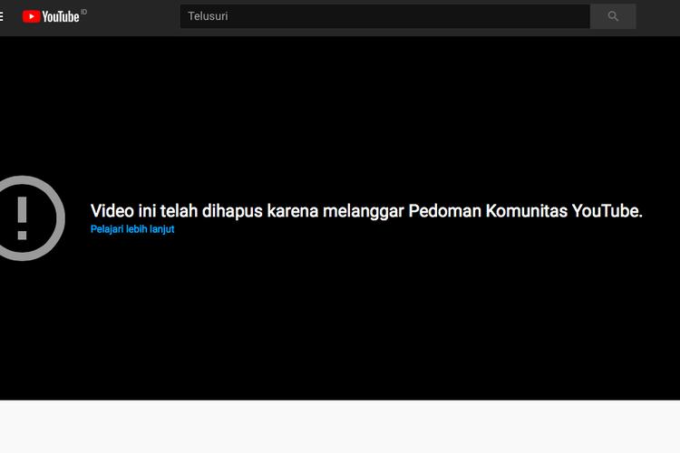 Tangkapan layar video konten prank Ferdian Paleka hilang dari kanal YouTube