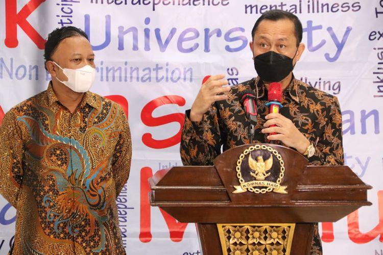 Ketua Komnas HAM Ahmad Taufan Damanik dalam konferensi pers perkembangan penanganan kasus terkait tes wawasan kebangsaan (TWK) pegawai KPK, Selasa (8/6/2021).