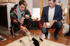 Kenakan Jaket Petai dan Mangkuk Mie Ayam, Joe Jonas Bermain dengan Anjing