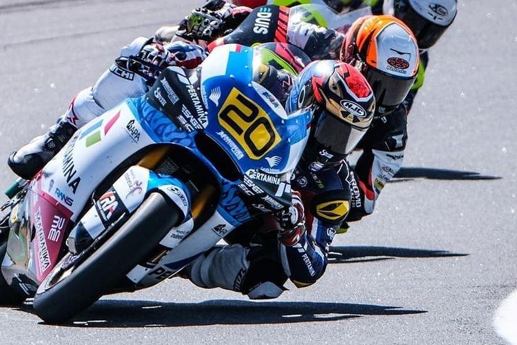 Dimas Ekky Pratama saat balapan di FIM CEV Repsol 2021 seri pertama di Portugal