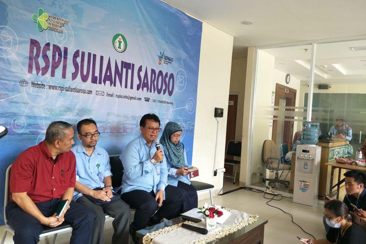 Konferensi pers di RSPI Sulianti Soroso, Jakarta Utara, Rabu (11/3/2020).