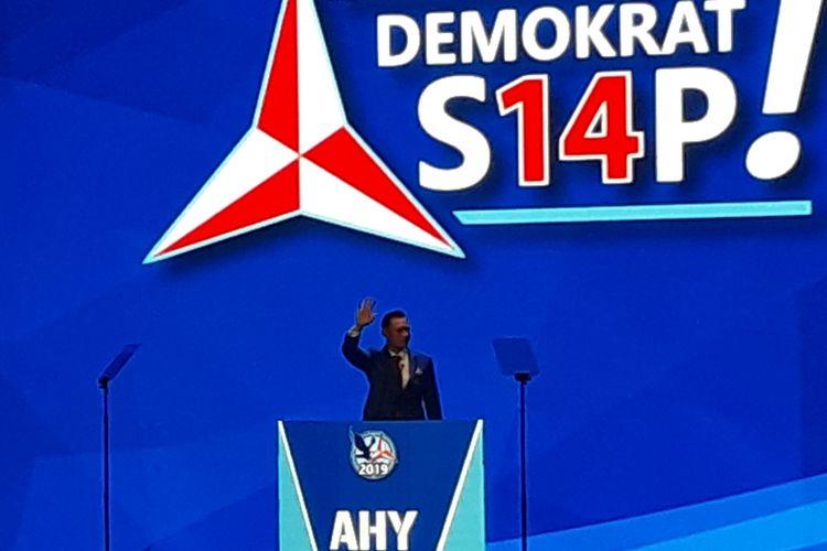 Agus Harimurti Yudhoyono atau AHY saat menyampaikan pidato penutup di di akhir penyelenggaraan Rapat Pimpinan Nasional (Rapimnas) Partai Demokrat di Sentul, Bogor, Jawa Barat, Minggu (11/3/2018).