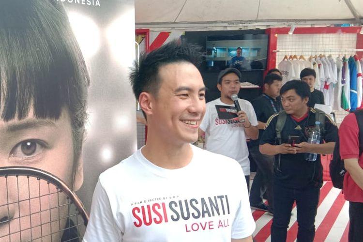 Daniel Mananta dalam wawancara untuk mempromosikan film Susi Susanti Love All di Istora Senayan, Jakarta Pusat, Jumat (19/7/2019).