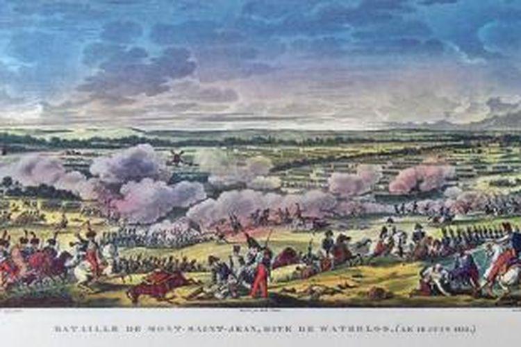 Sebuah lukisan karya Vernet and Swebach menggambarkan pertempuran Mont-Saint-Blanc yang terjadi pada 18 Juni 1815. Pertempuran ini adalah bagian dari kampanye militer Napoleon Bonaparte yang berakhir dengan kehancuran dalam pertempuran Waterloo.