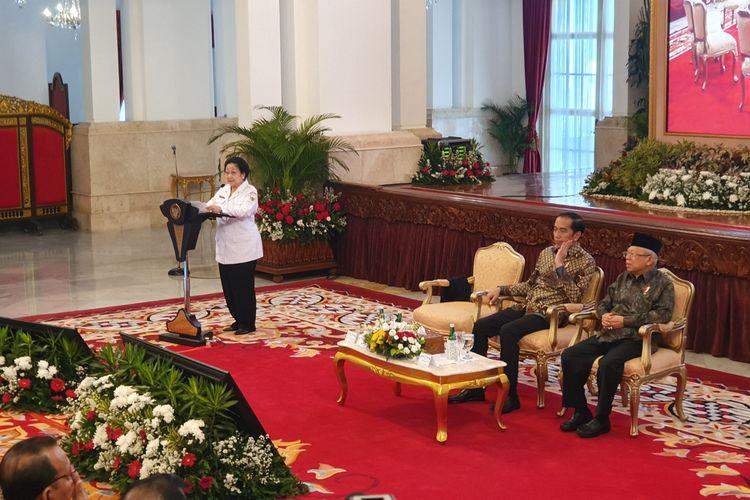 Ketua Dewan Pengarah BPIP Megawati Soekarnoputri dalam acara Presidential Lecture Internalisasi dan Pembumian Pancasila, di Istana Negara, Jakarta, Selasa (3/12/2019).