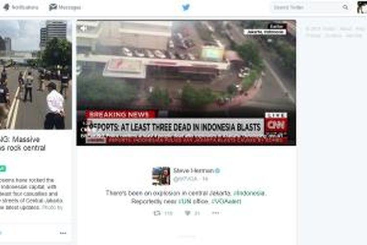 Twitter Moments himpun berita tentang ledakan bom Sarinah Thamrin