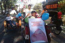 Luapkan Kebahagiaan, Abang Becak Konvoi Sambil Bawa Poster Cucu Jokowi