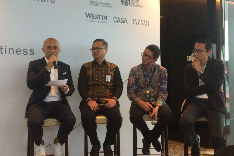 Konferensi pers La Biennale Architetettura di Hotel Westin, Jakarta, Kamis (14/12/2017).