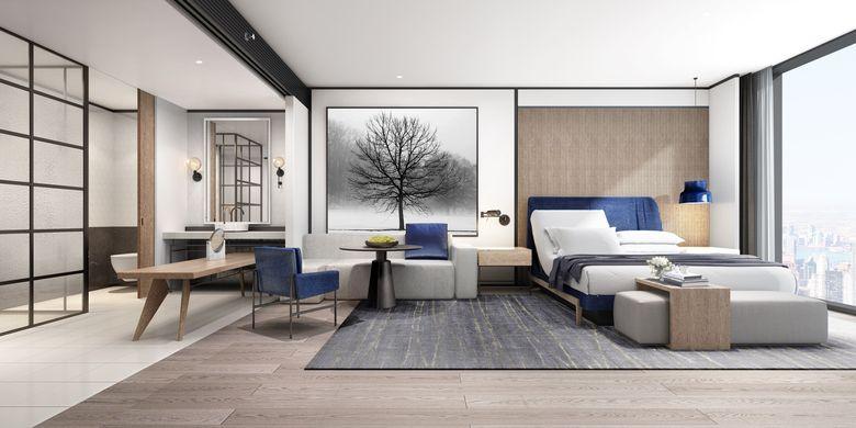 Tampilan visual kamar tamu hotel Sheraton setelah transformasi.