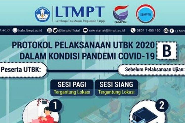 Protokol pelaksanaan UTBK 2020 dalam kondisi pandemi Covid-19.