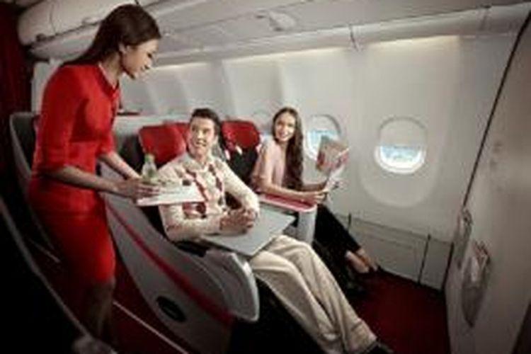 Suasana di business class flatbed Indonesia AirAsia X