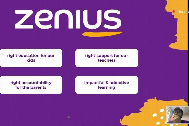 Zenius Education pada Diskusi Media Virtual - Rebranding Zenius Education, via Zoom Webinar, Selasa (21/7/2020).