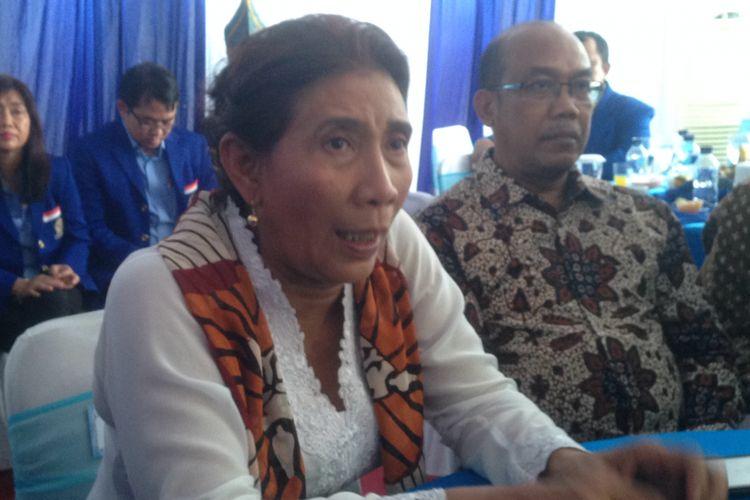 Menteri KKP Susi Pudjiastuti Saat Menghadiri Puncak Hut HSNI Di Pantai Depok Bantul