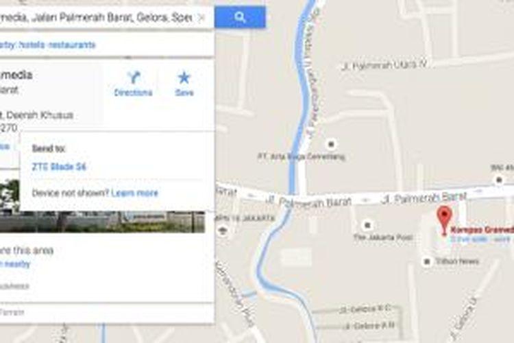 Fitur send to device pada Google Maps