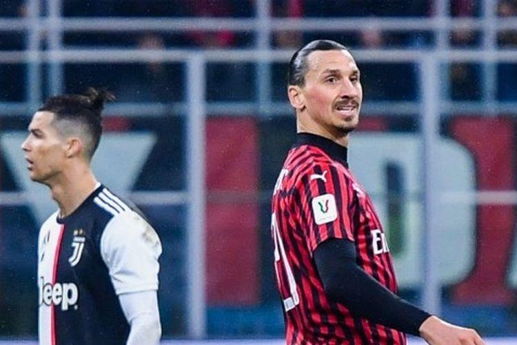 Cristiano Ronaldo dan Zlatan Ibrahimovic dalam laga leg pertama semifinal Coppa Italia antara AC Milan vs Juventus di Stadion San Siro, Jumat (14/2/2020).