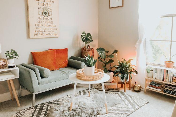 Ilustrasi karpet di ruang keluarga.