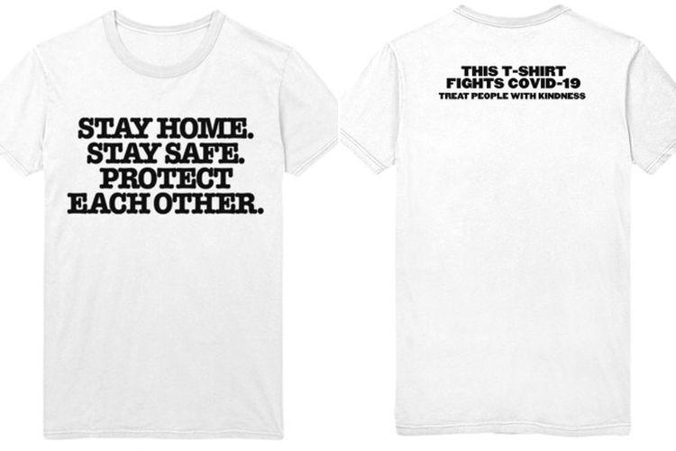 T-shirt edisi khusus yang dijual Harry Styles di mana seluruh hasil penjualannya akan disumbangkan ke COVID-19 Solidarity Response Fund.