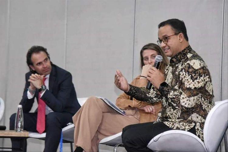Gubernur DKI Jakarta Anies Baswedan saat jadi pembicara di world cities summit mayor forum (WCSMF), Kolombia