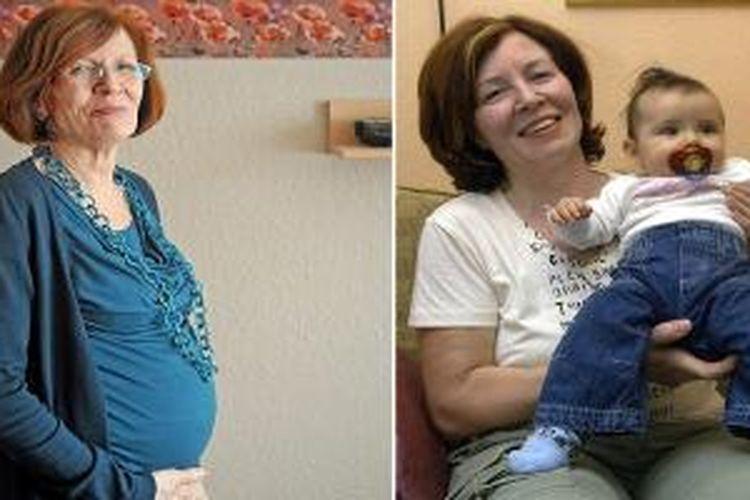 Annegret Raugnik berusia 61 tahun tengah mengandung janin kembar empat