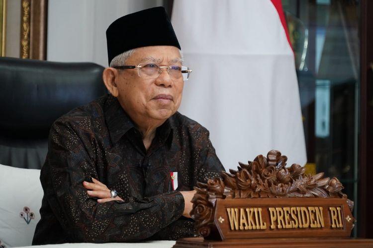 Wakil Presiden Maruf Amin saat memberikan sambutan di ulnag tahun DPD RI ke-16, Kamis (1/10/2020).