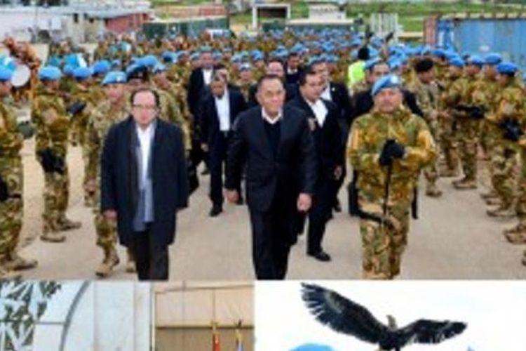 Menteri Pertahanan Ryamizard Ryacudu saat mengunjungi pasukan perdamaian di Lebanon.