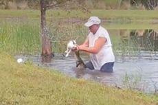 Sambil Mengisap Rokok, Pria Selamatkan Anjingnya dari Rahang Alligator