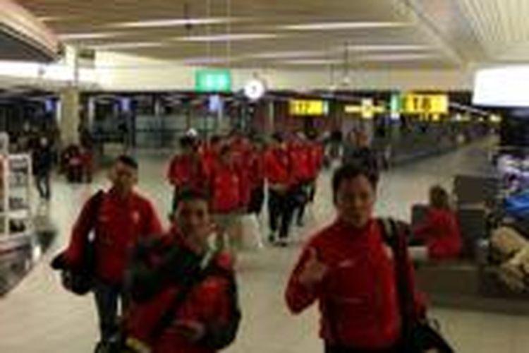 Indonesia XI tiba di Bandara Schipol, Amsterdam, Belanda, Senin (1/12/2013) pukul 12.00 WIB.