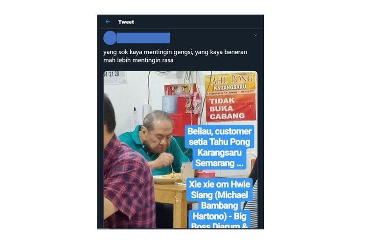 Viral foto Bambang Hartono sedang makan di sebuah warung