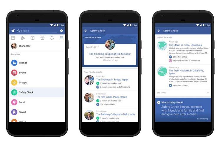 Facebook bikin tab khusus Safety Check