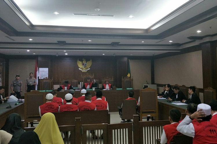 Suasana sidang 29 karyawan Gedung Sarinah di Pengadilan Negeri Jakarta Pusat, Selasa (13/8/2019).