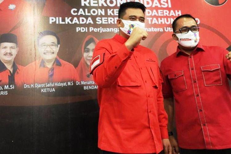 PDI Perjuangan mengumumkan secara resmi mengusung Muhammad Bobby Afif Nasution dan Aulia Rachman maju dalam Pilkada Kota Medan, Selasa (11/8/2020) di kantor DPD PDI Perjuangan Provinsi Sumut