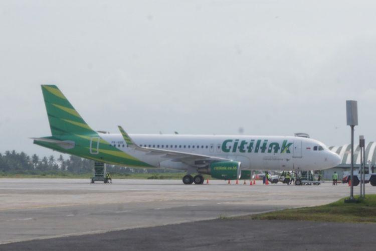 Pesawat Citilink yang melakukan penerbangan internasional perdana dari Banyuwangi, Jawa Timur menuju Kuala Lumpur, Malaysia, Rabu (19/12/2018).