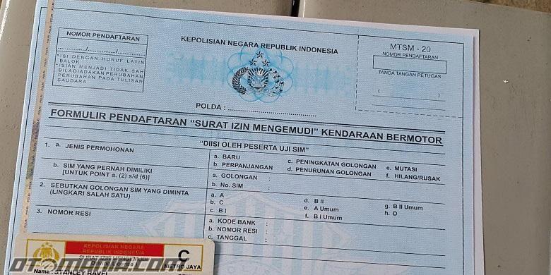 Formulir perpanjangan SIM keliling