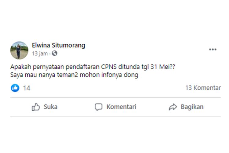 Tangkapan layar unggahan dari warganet yang menanyakan soal kapan pendaftaran CPNS 2021.