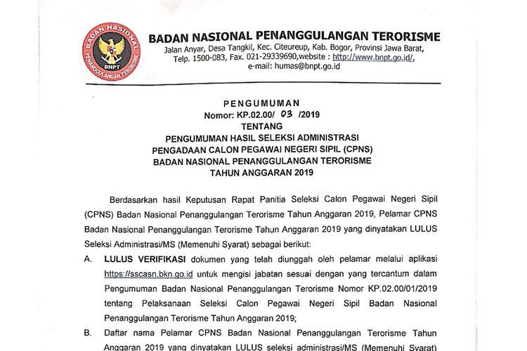 Hasil administrasi CPNS 2019 Badan Penanggulangan Terorisme (BNPT).