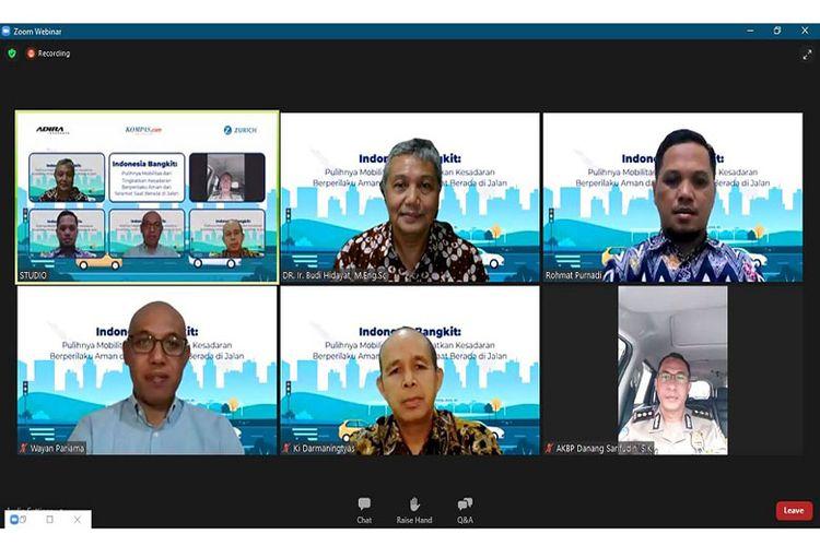 Webinar Adira Indonesia Bangkit Pulihnya Mobilitas dan Tingkatkan Kesadaran Berperilaku Aman dan Selamat Saat Berada di Jalan, Rabu (30/03/2021).