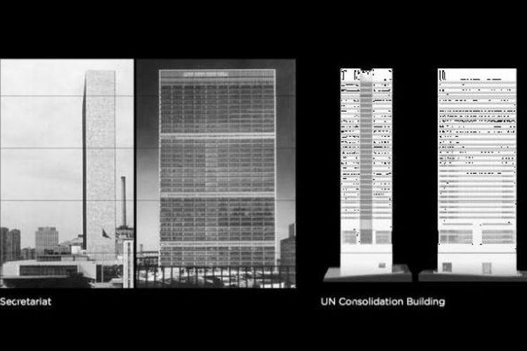 Gedung PBB yang dirancang arsitek berkebangsaan Jepang ini mengikuti bangunan eksisting, yakni Gedung Sekretariat PBB.
