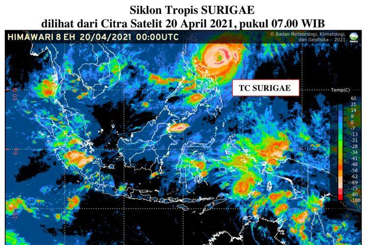 Siklon tropis Surigae yag terpantau pada 20 Aoril 2021 pukul 07.00 wIB