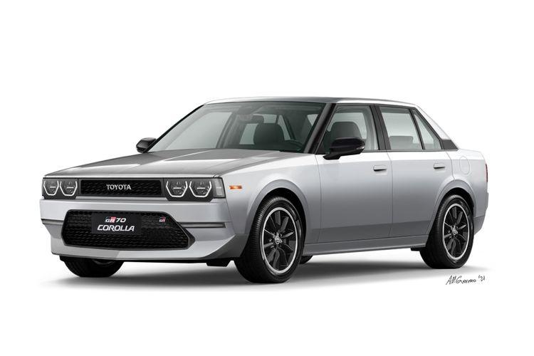Toyota GR70, sebuah render mobil baru yang berdasar pada Corolla E70 atau Corolla DX.