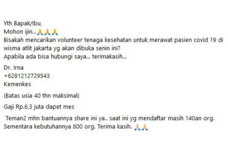 Status Facebook hoaks mengenai rekrutmen relawan tenaga kesehatan tangani pasien Covid-19 di Wisma Atlet Jakarta.
